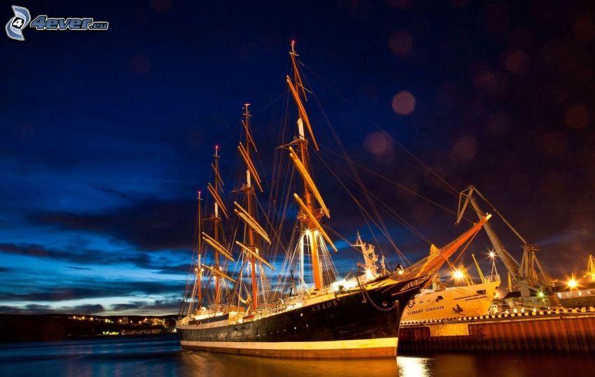 segelbåt, hamn, kväll, belysning