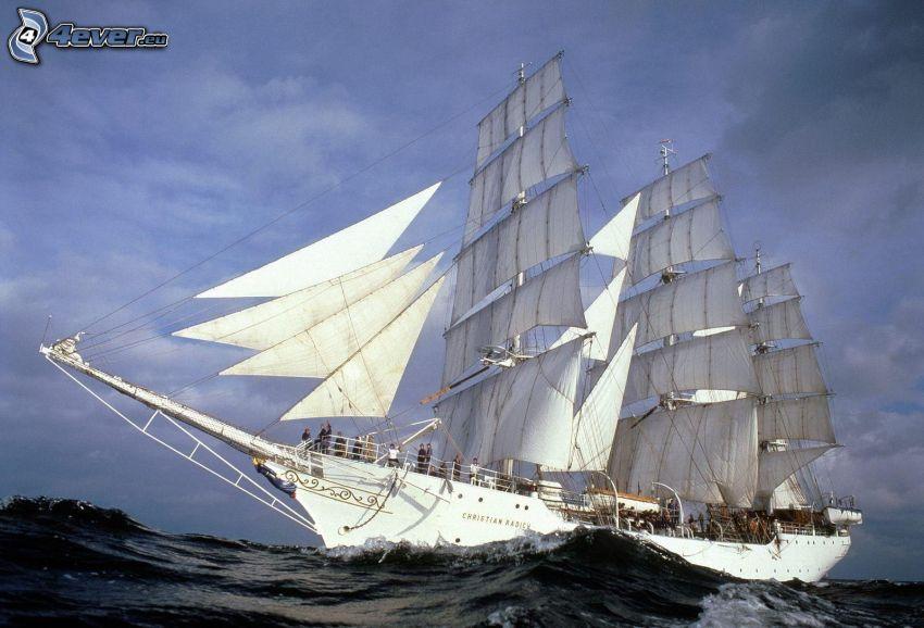 segelbåt, hav, vågor