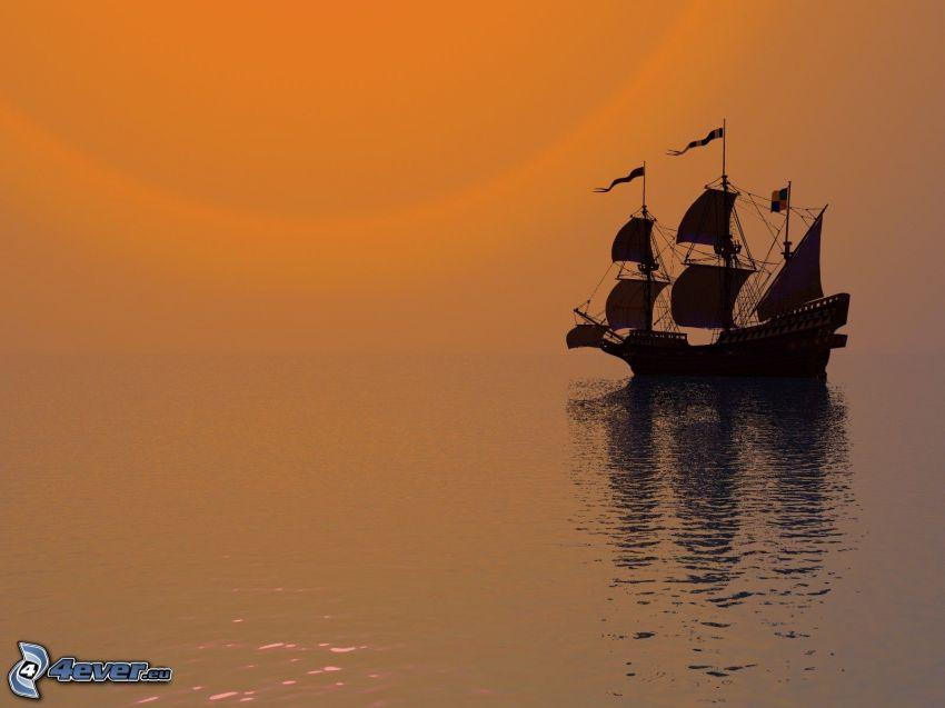 segelbåt, hav