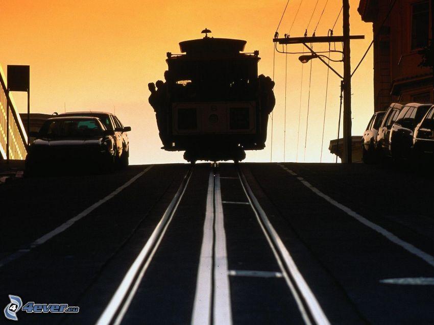 silhuett av spårvagn, spårvagnsspår, San Francisco