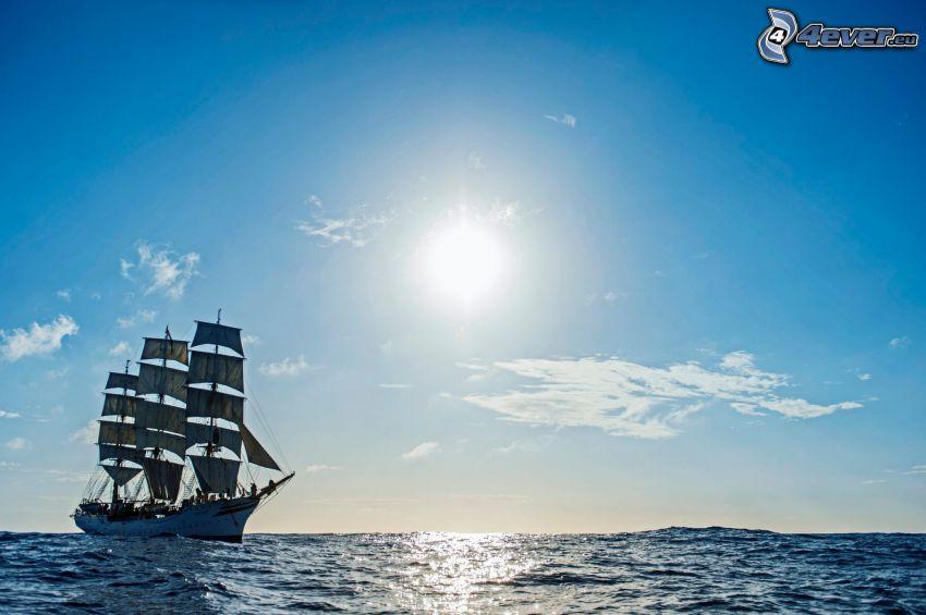 Sørlandet, segelbåt, öppet hav, sol