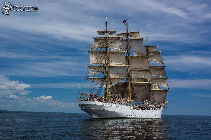 Sørlandet, segelbåt, öppet hav