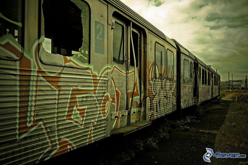 gammal tågvagn, tunnelbana