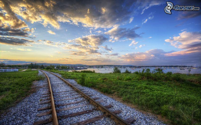 järnväg, hamn, moln, HDR