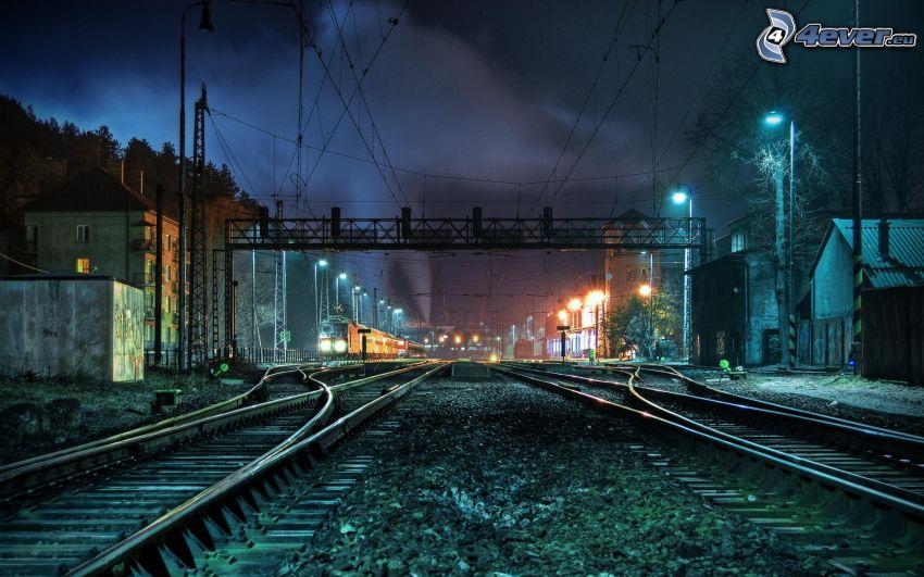 järnväg, natt, järnvägsstation