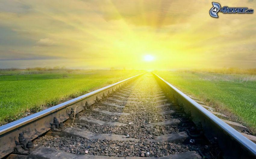 järnväg, sol