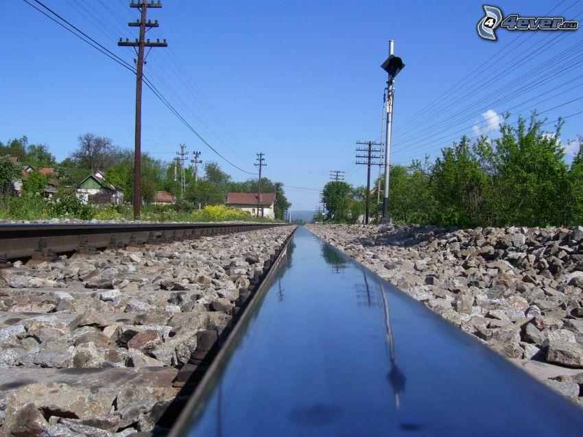 järnväg, stenar, träd