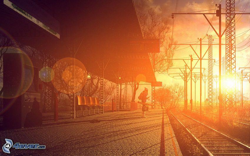 järnvägsstation, plattform, soluppgång