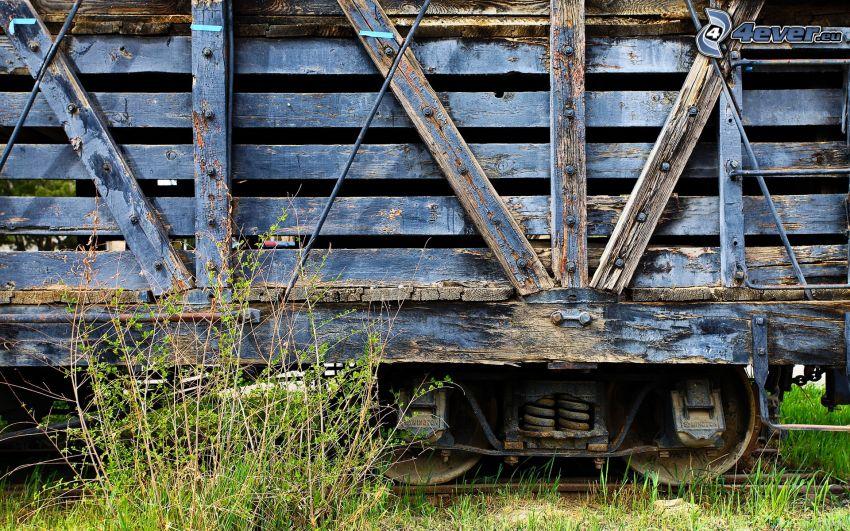 lasttåg, gammal tågvagn