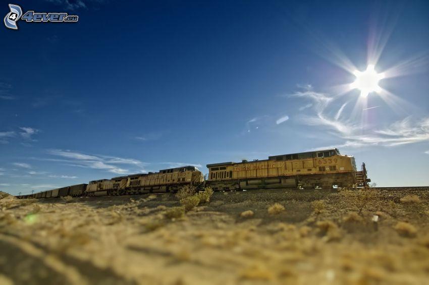 lasttåg, sol, himmel, USA