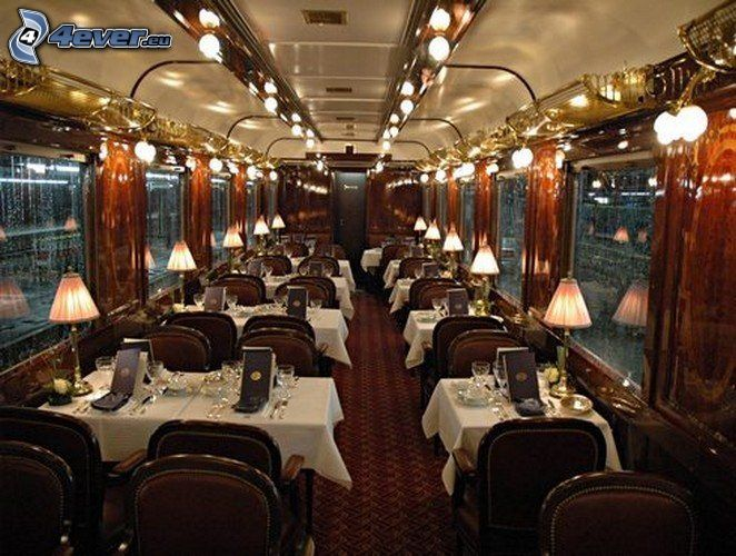 Orient Express, restaurangvagn, lyx, interiör