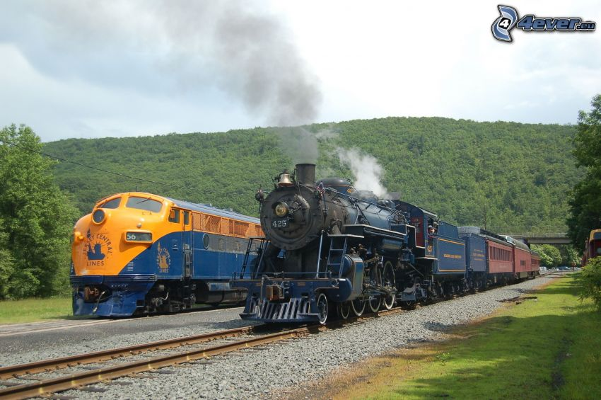 tåg, ånglok, USA, bergskedja