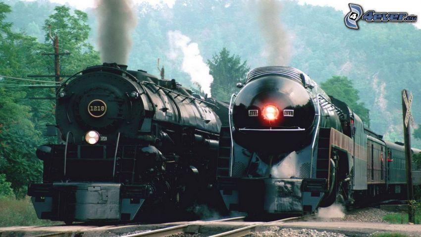 tåg, ånglok