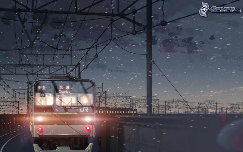 tåg, snöfall, tecknat