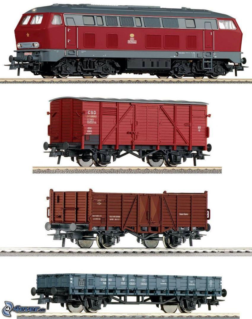 tåg, vagn, lokomotiv