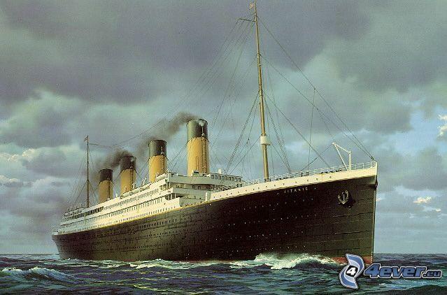 Titanic, ocean, till sjöss, ångbåt, båt