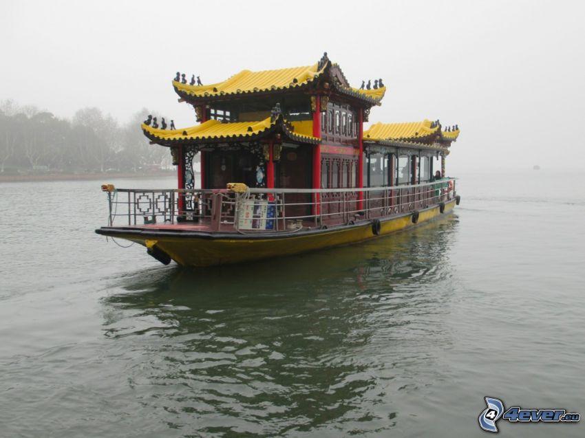 turistbåt, flod