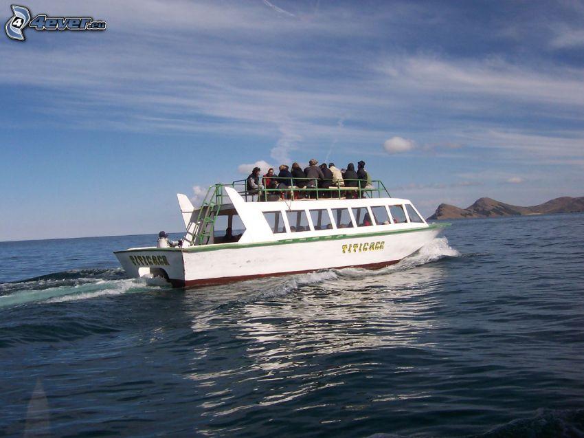 turistbåt, öppet hav