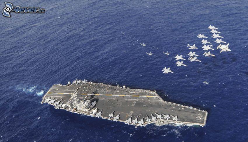 USS Nimitz, hangarfartyg, jaktplan, hav