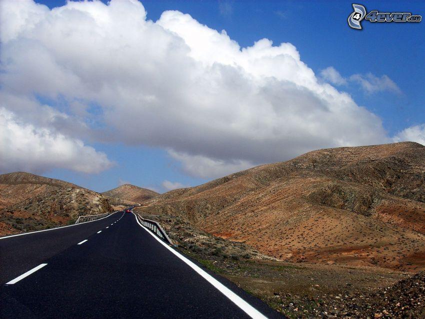 väg, kullar, moln