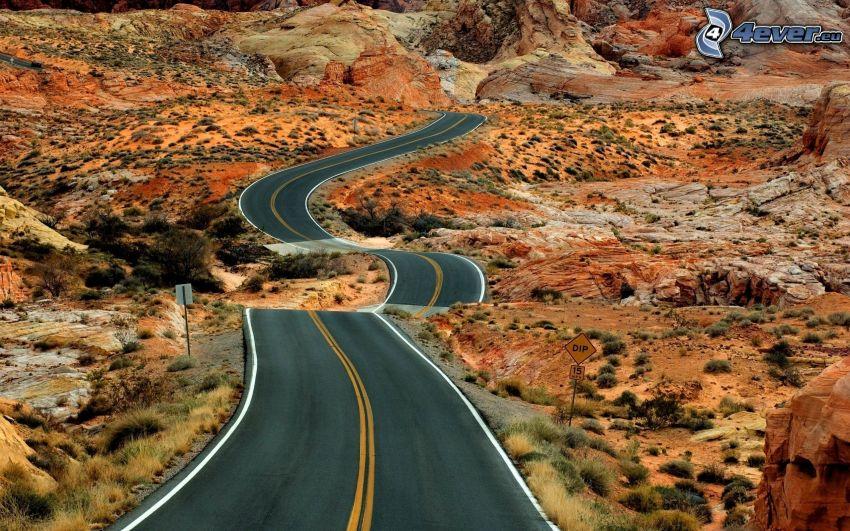väg, öken, USA