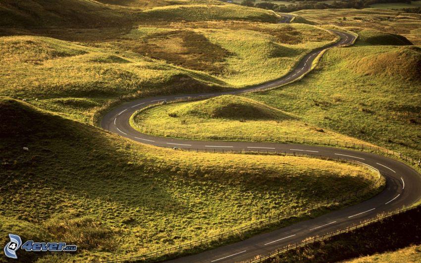 väg, serpentinväg, ängar