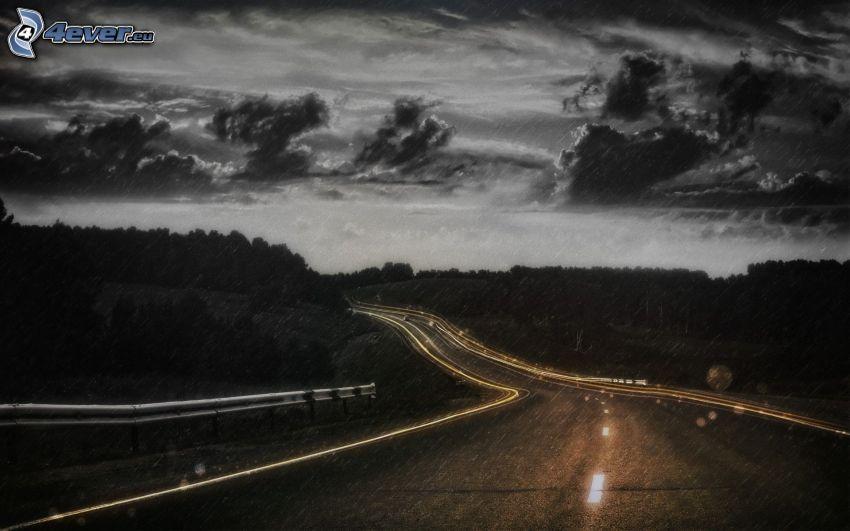 väg, storm, natt