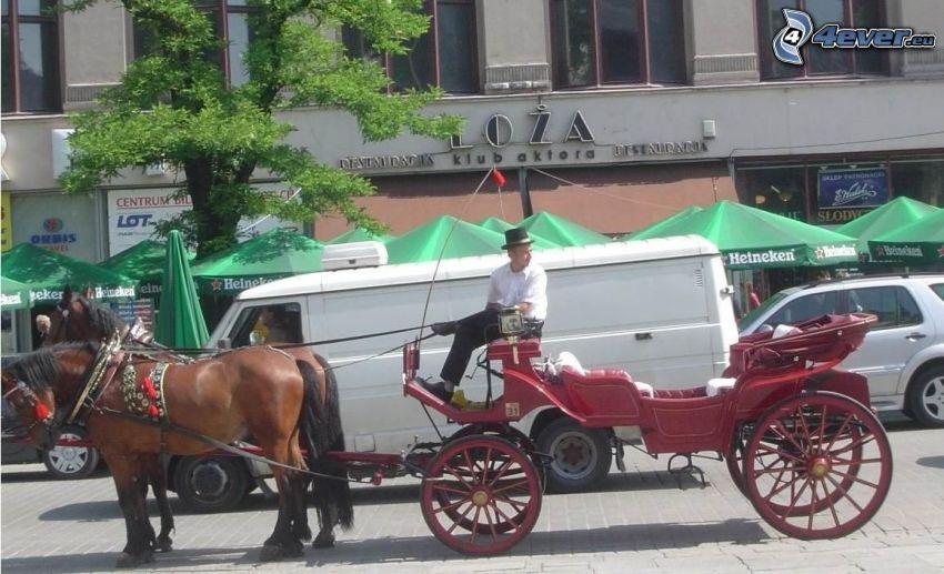 vagn, hästar, gata
