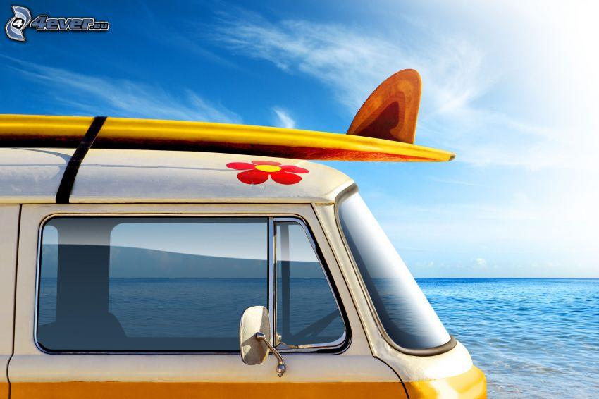 Volkswagen Type 2, surf, hav, sol, semester