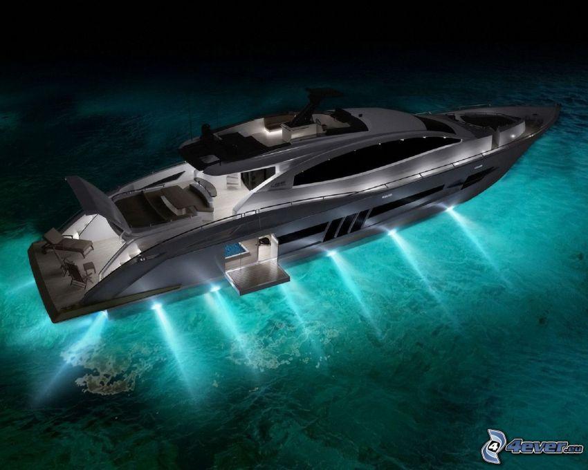 yacht, lyxfartyg, hav, ljus
