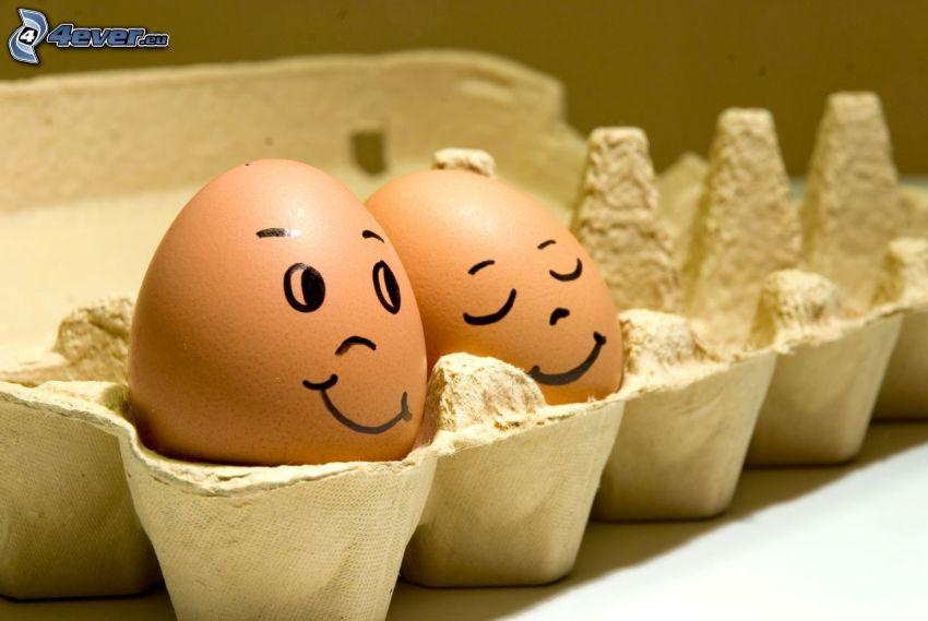 ägg, leende