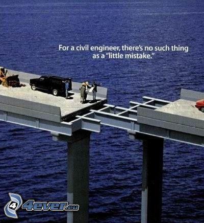 fel, ingenjör, bro, väg, hav