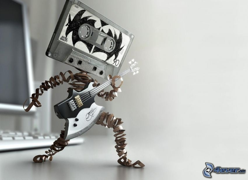 kasettband, elgitarr