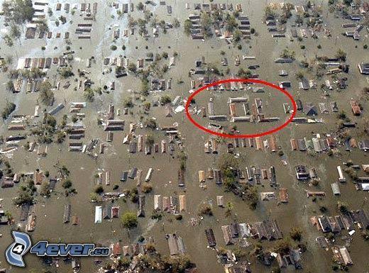 LOL, översvämning, hus