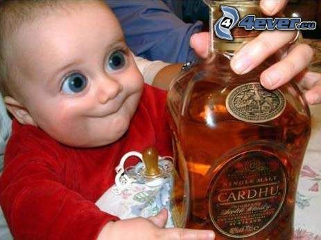 barn, alkohol, ögon, små alkoholister