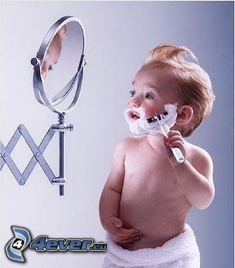 barn, rakning, spegel