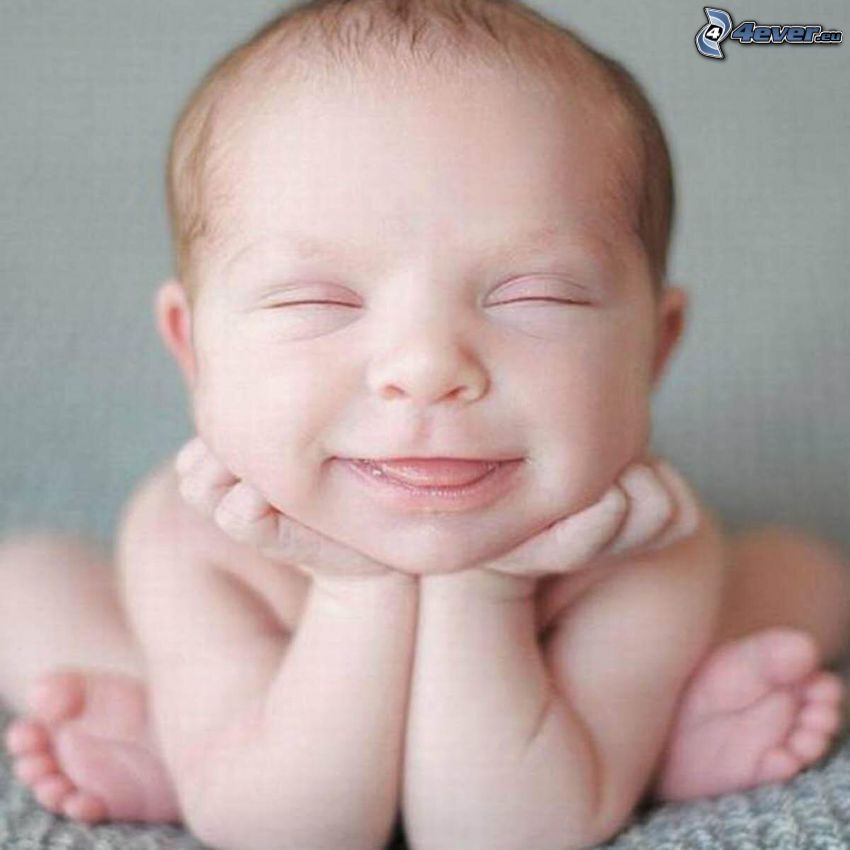 bebis, ansikte, grimaser, leende