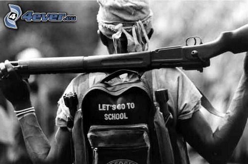 let's go to school, väska, soldat