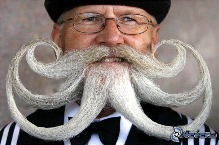 mustasch, gubbe, gammal man