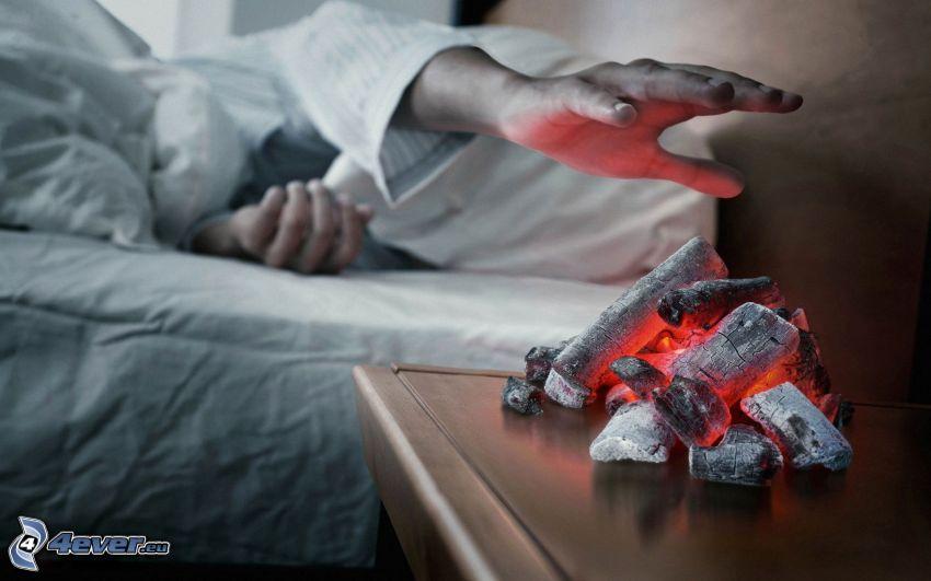 väckarklocka, glödande kol, hand, värme