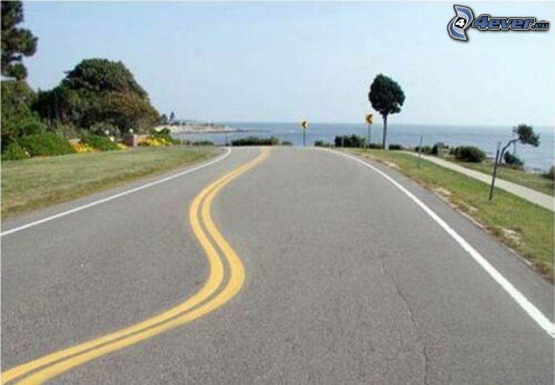 väg, gula linjer