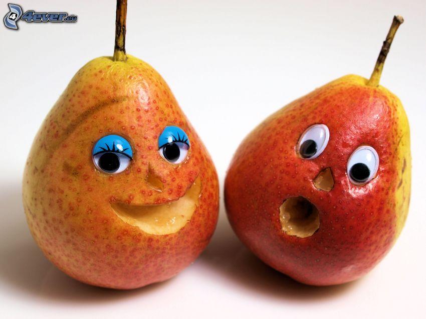 päron, ögon, mun