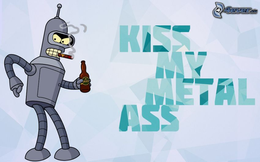 robot, cigarr, rök, öl, text, Futurama