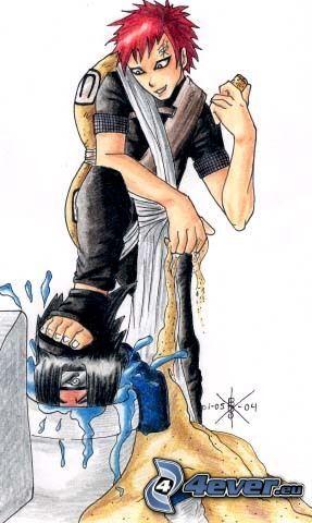 Sasuke, Gaara, toalett, saga, teckning