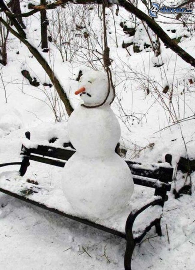 snögubbe, hängd, bänk