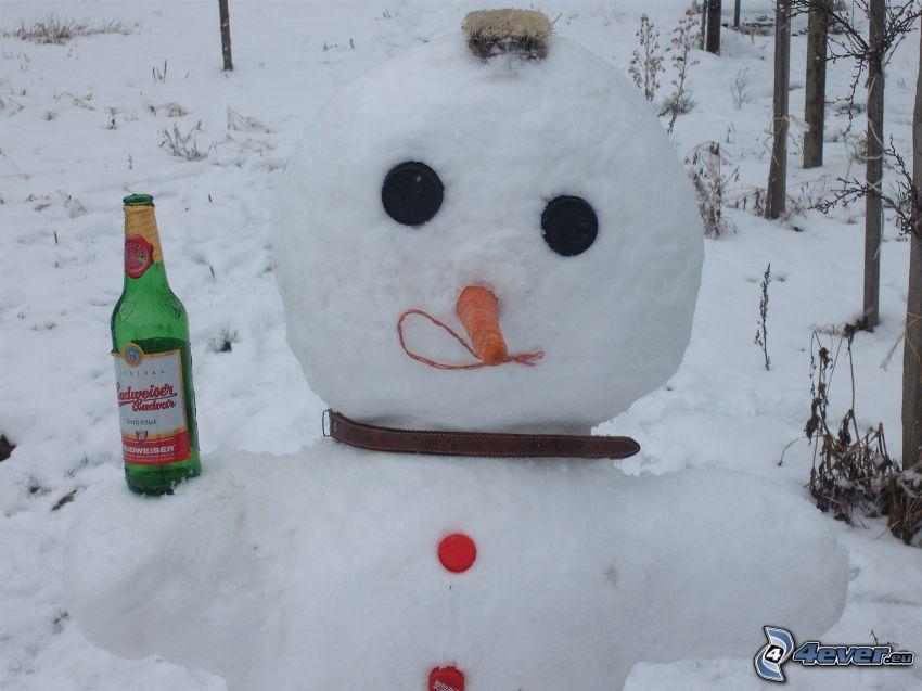 snögubbe, öl, flaska, alkoholist