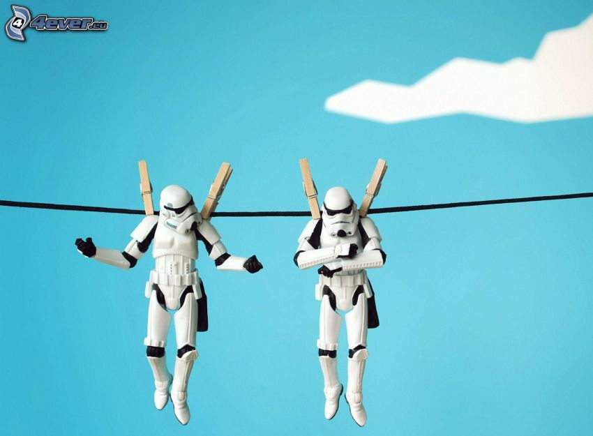 Star Wars, figurer, klädnypor på tråd