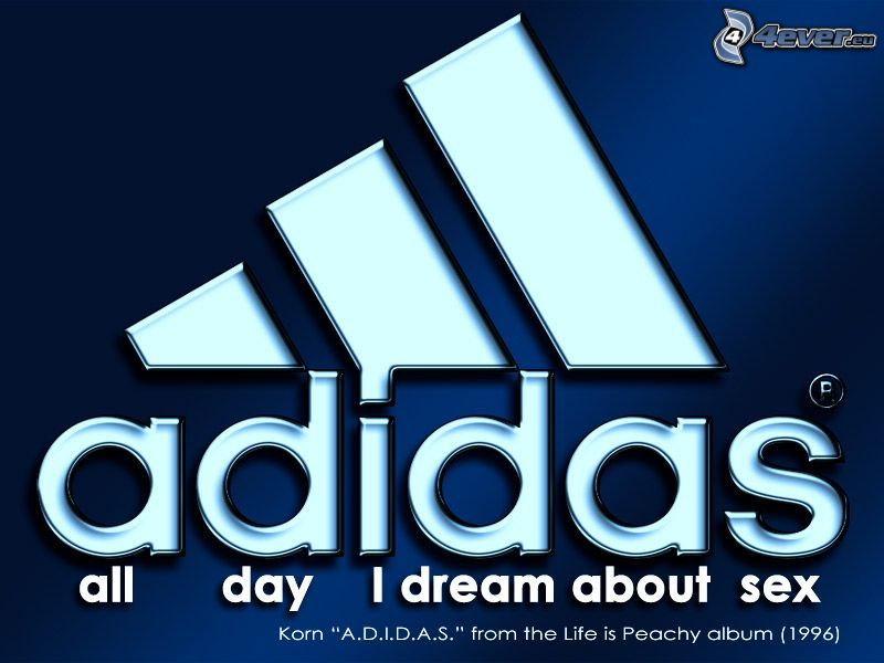 all day I dream about sex, Adidas, parodi, varumärke, logo