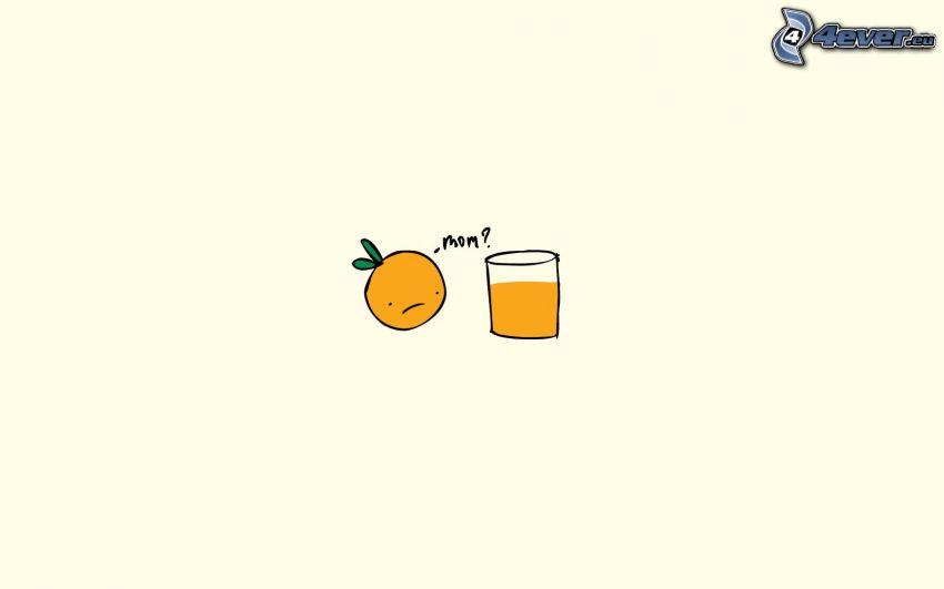 apelsin, glas, apelsinjuice