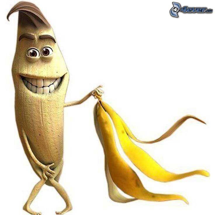 banan, avklädelse, skal, skratt